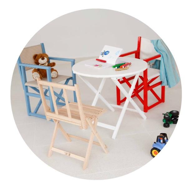 mobiliario infantil plegable de madera